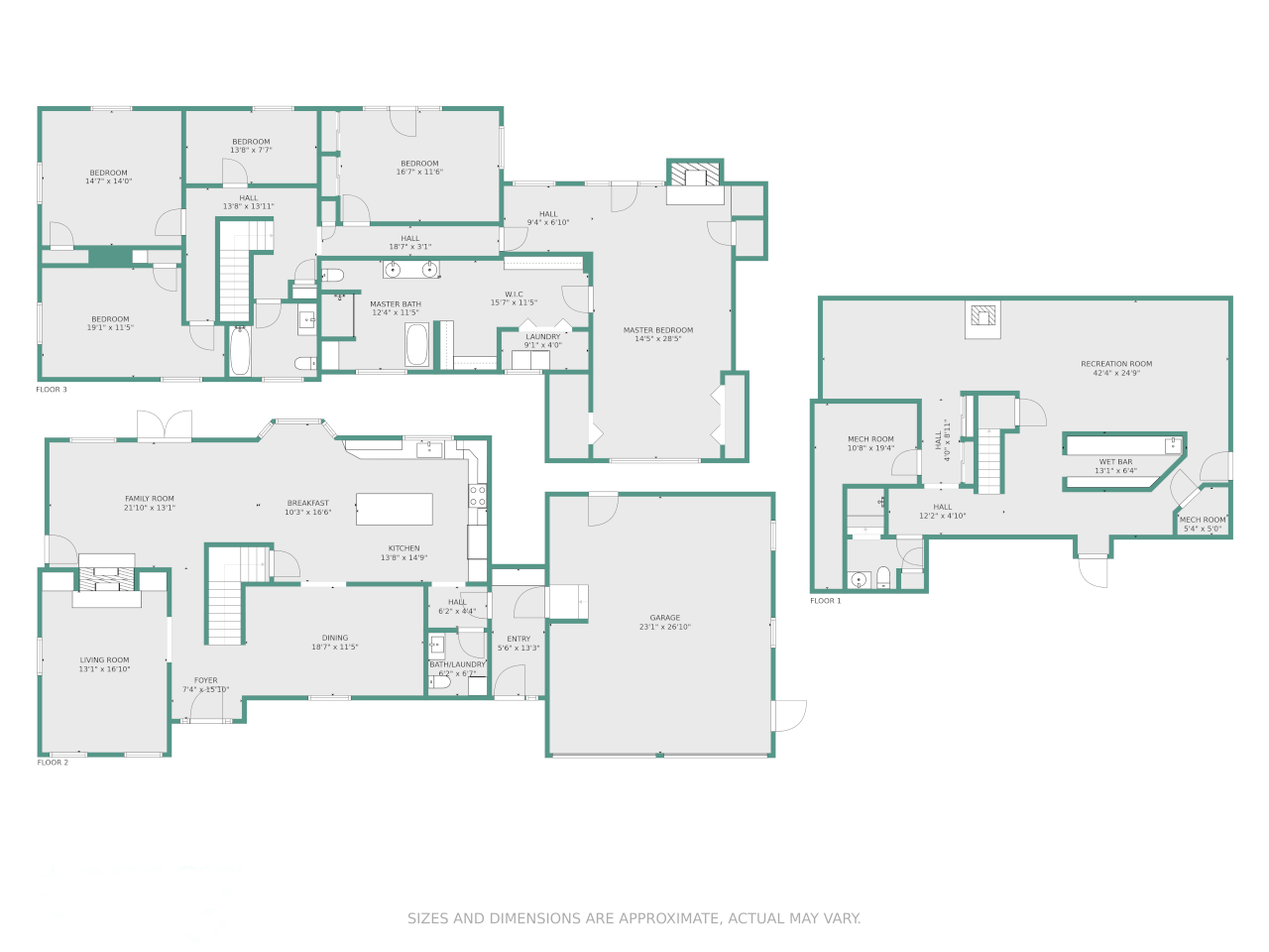 A floor plan of a multi-floor apartment with dimensions, wall color and theme color.