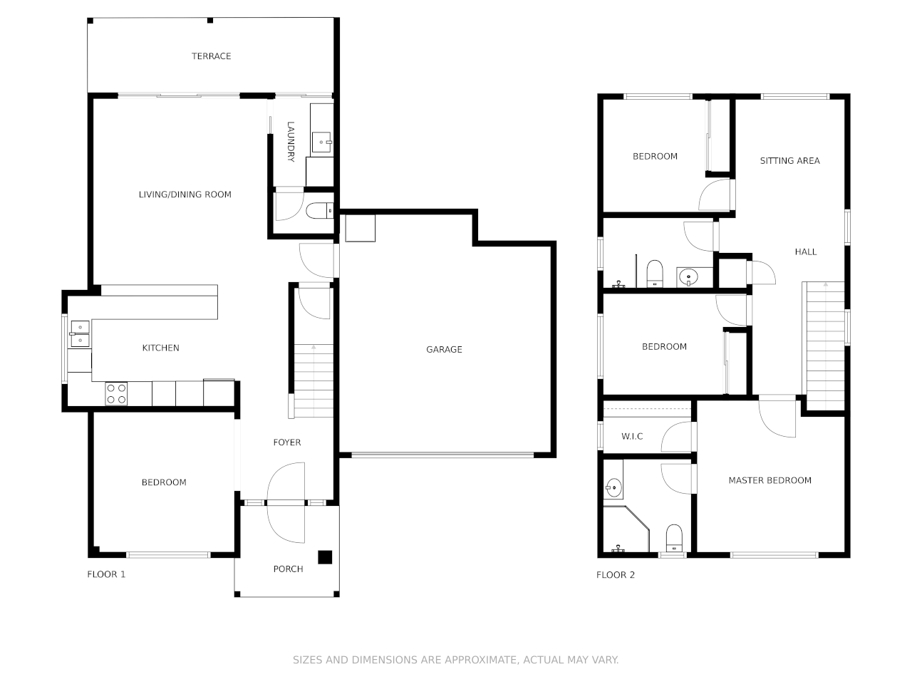 Black and white floor plan of an apartment with a garage and no dimensions.