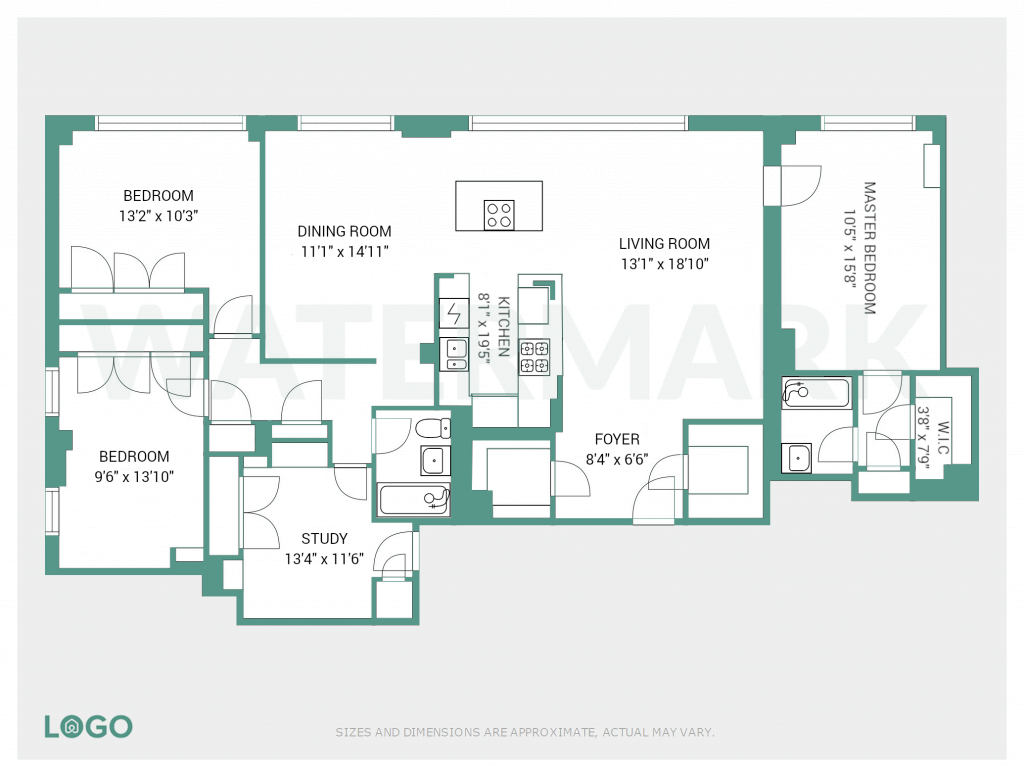 Floor plan with watermark.