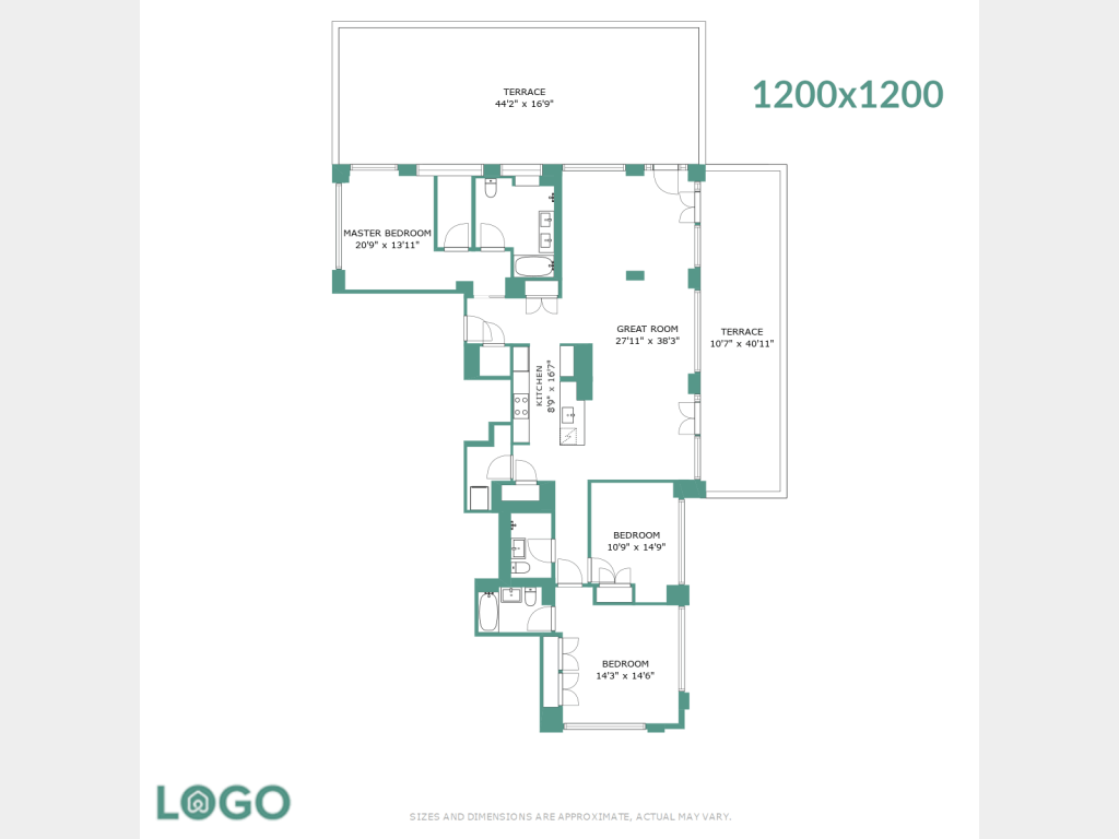 Different resolution floor plan with wall color and logo.