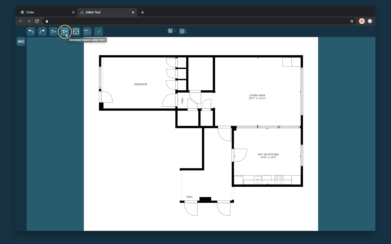 decrease fonts in quick edit cubicasa floor plan app