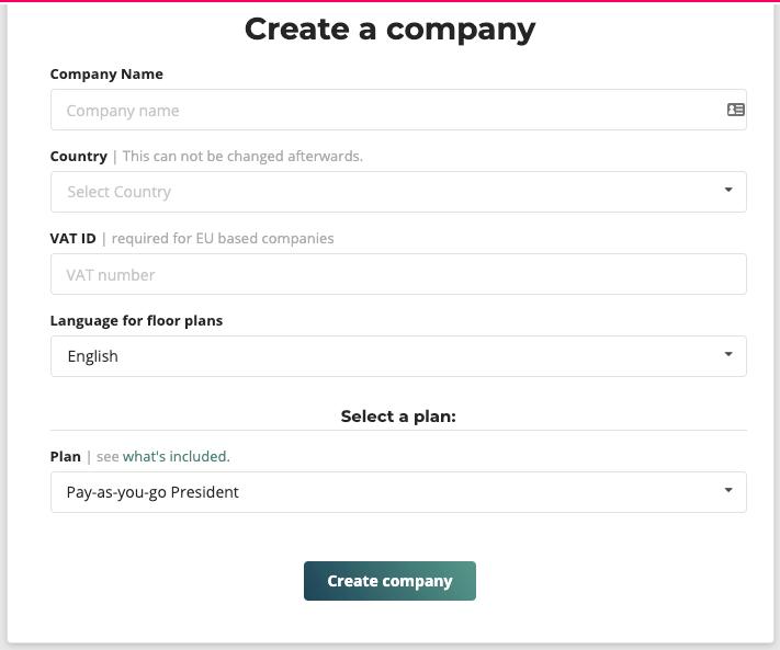 create a company cubicasa app