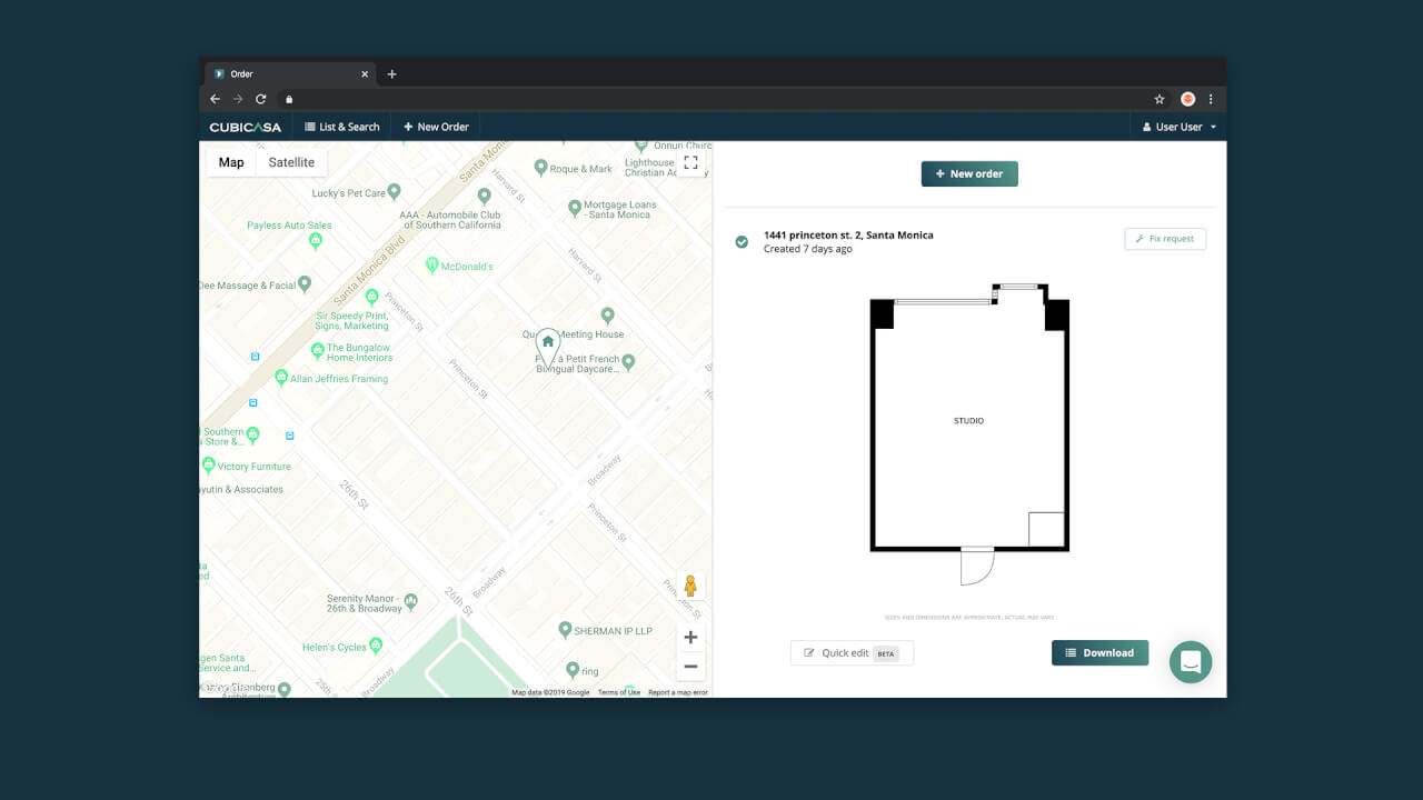 floor plans show on map cubicasa app