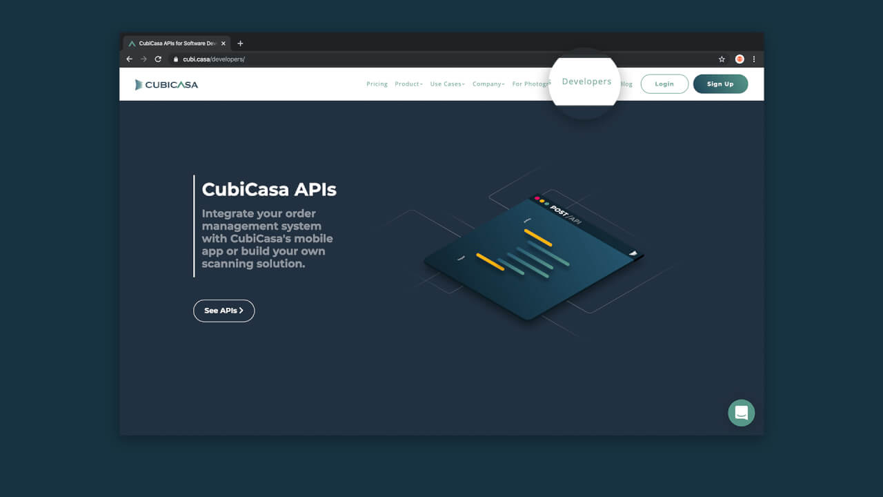 cubicasa developers page