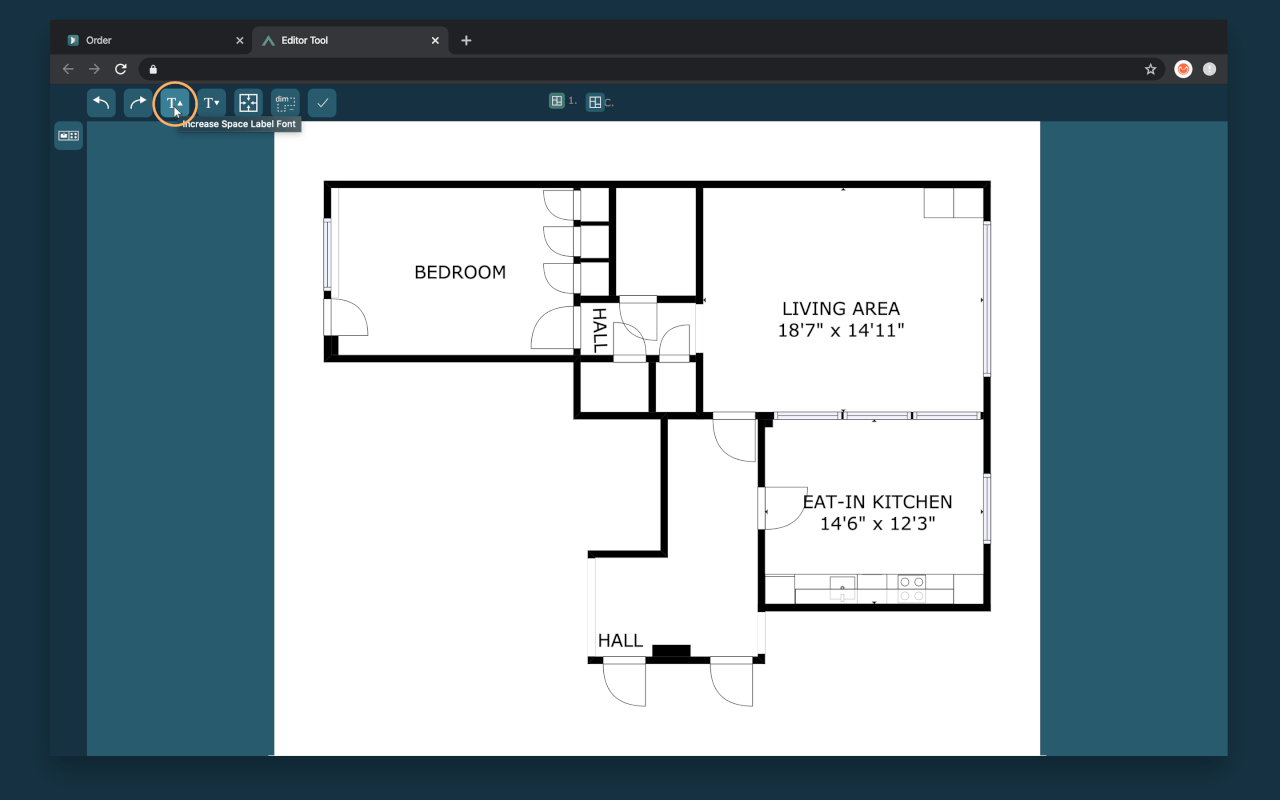 increase fonts in quick edit cubicasa floor plan app