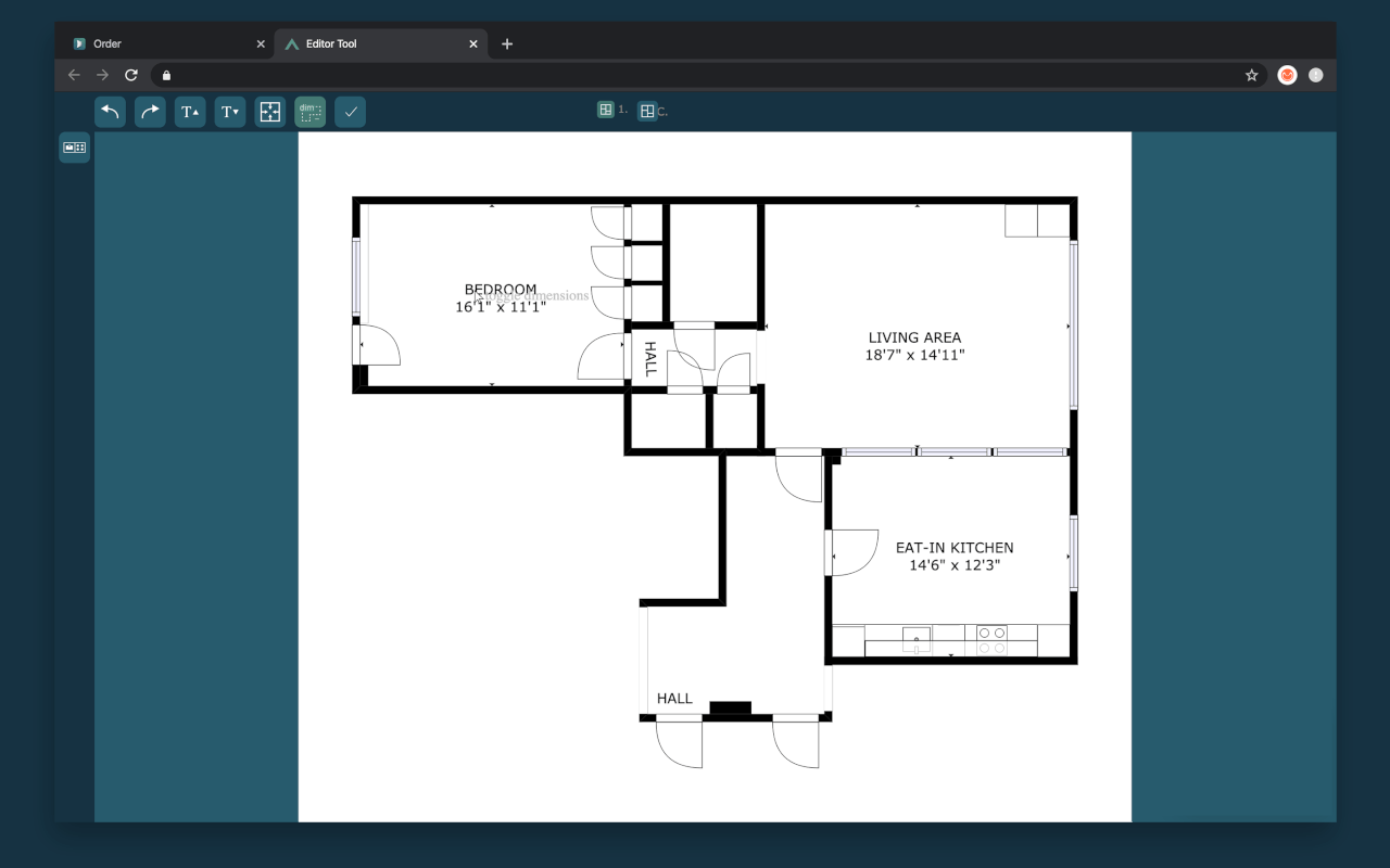 toggle on off dimensions cubicasa floor plan app quick edit