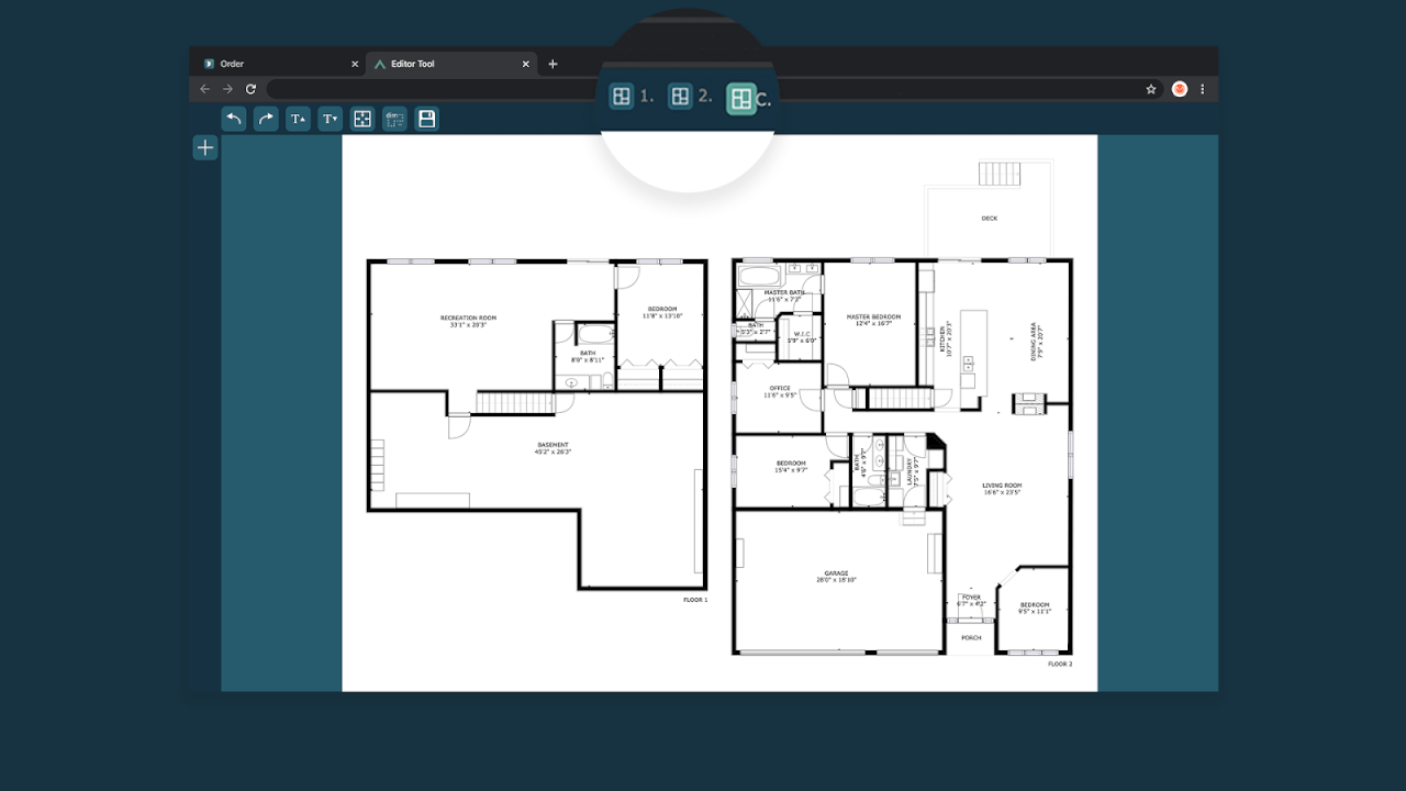 choosing a floor to add text edit cubicasa floor plans