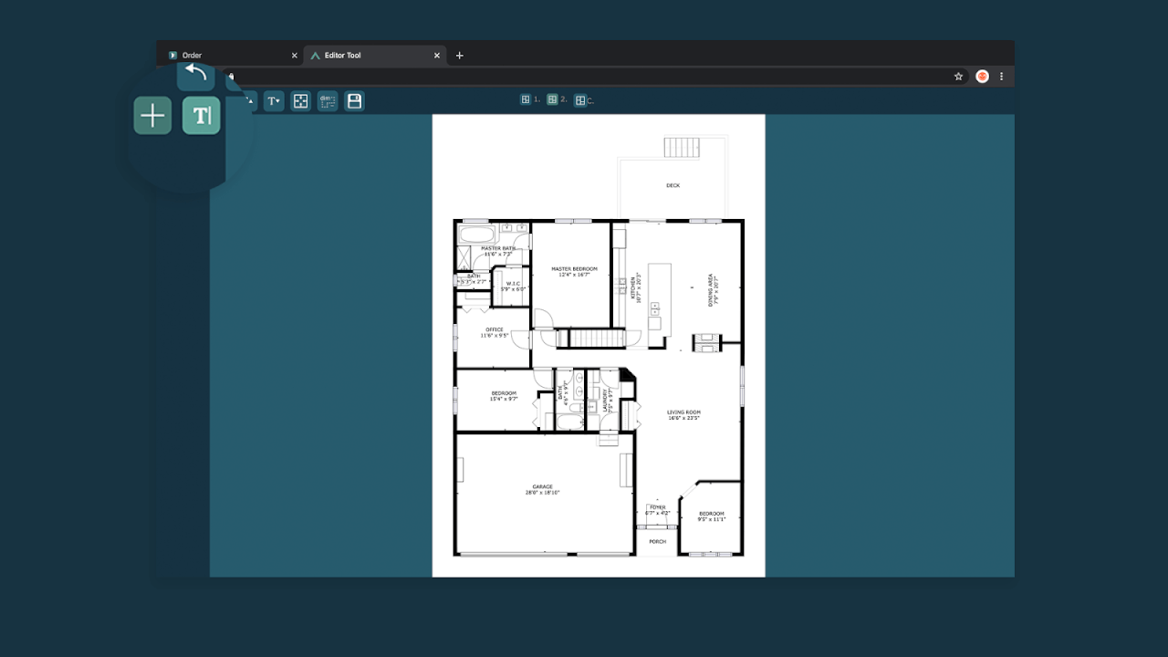 find the free text button to cubicasa floor plan