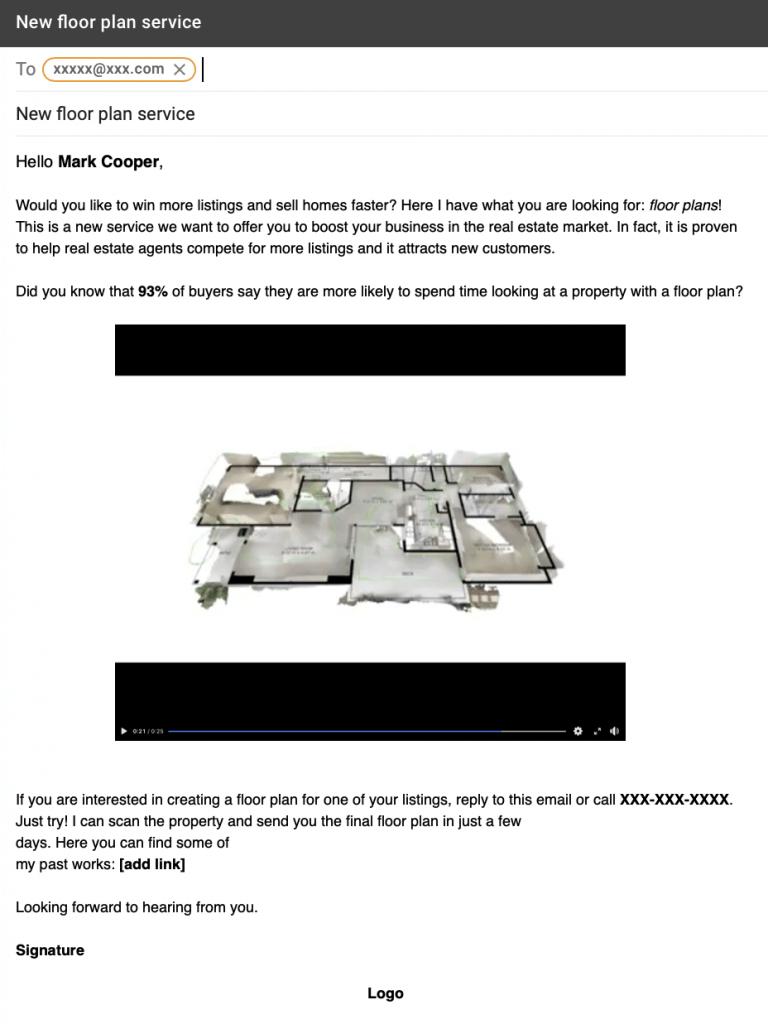 Floor plan proposal email