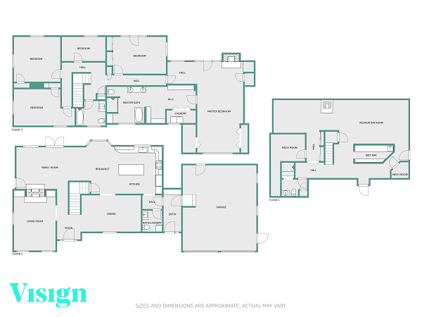 floor plans samples three story green wall gray floor with logo