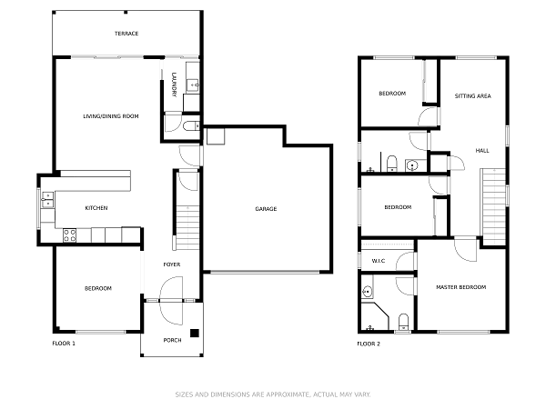floor plan samples two story green wall gray floor with logo