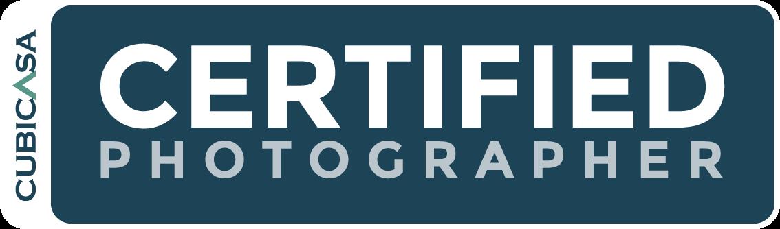 Certified Photographers Program's horizontal logo, inverted color